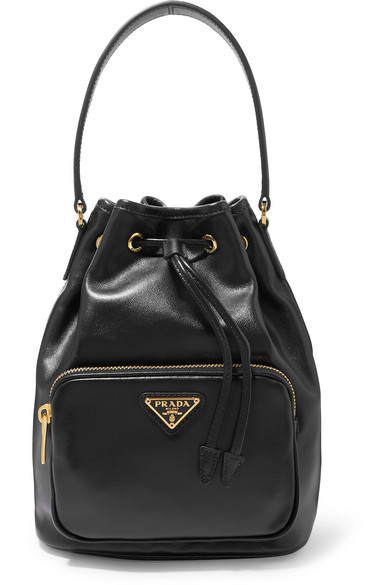 556c721714e943 Prada | Leather bucket bag | NET-A-PORTER.COM