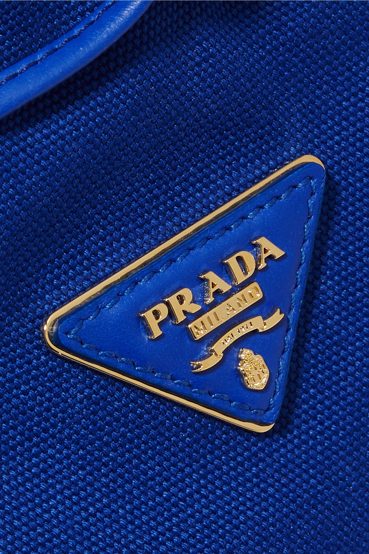 Prada Giardiniera leather-trimmed canvas and wicker shoulder bag