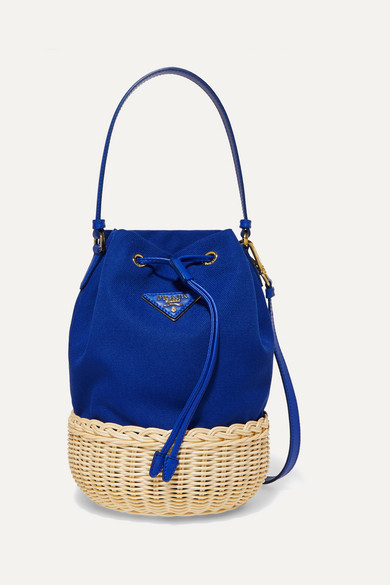 Giardiniera leather-trimmed canvas and wicker shoulder bag