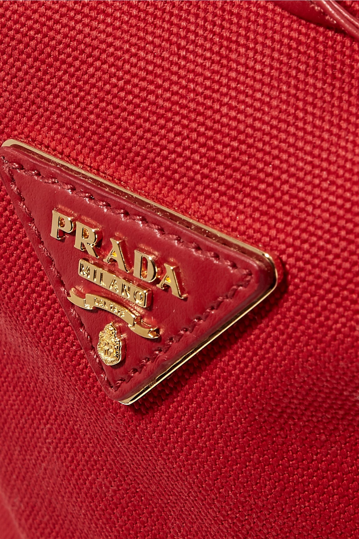 Prada Giardiniera Schultertasche aus Canvas und Korbgeflecht mit Lederbesatz