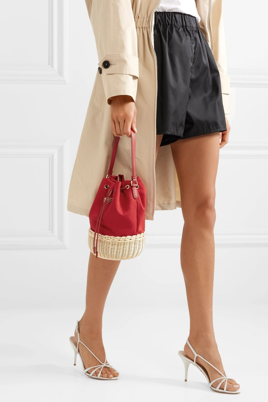 Prada Giardiniera leather-trimmed canvas and wicker shoulder bag