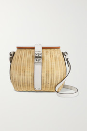 Giardiniera leather-trimmed wicker shoulder bag