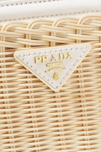Prada Bags Giardiniera canvas and leather-trimmed wicker tote