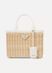 Prada Giardiniera leather-trimmed wicker tote