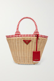 Prada Giardiniera striped canvas-trimmed wicker tote