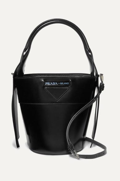 5eae21ccd32c Prada. Overture embossed glossed-leather bucket bag