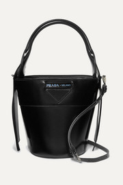 Prada Overture embossed glossed-leather bucket bag