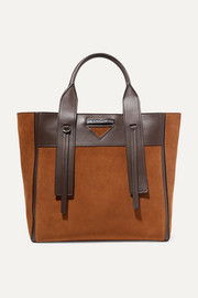 Ouverture leather-trimmed suede tote
