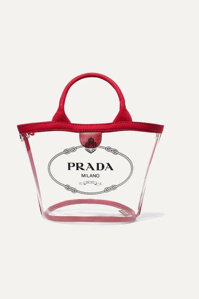 90c8051c54d7 Prada | Canvas-trimmed logo-print PVC tote | NET-A-PORTER.COM