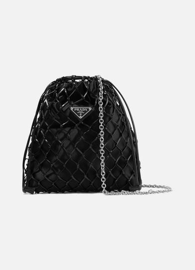 And com Prada Satin A Leather Bag Porter Macramé Net Bucket 1OwPp
