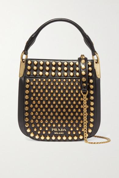 0f18645bb96f Prada | Studded leather shoulder bag | NET-A-PORTER.COM