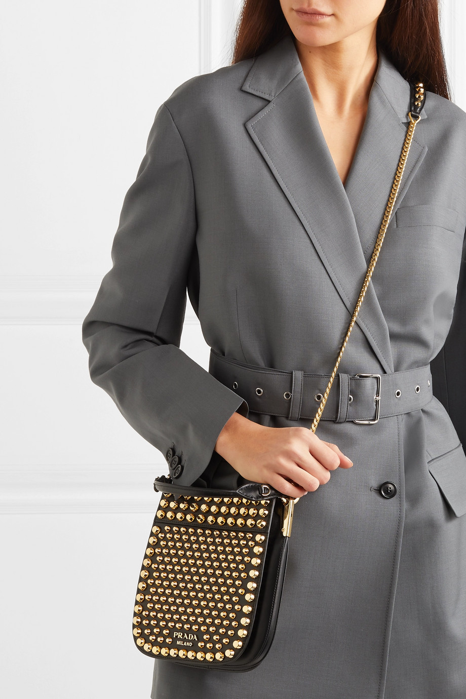Prada Studded leather shoulder bag