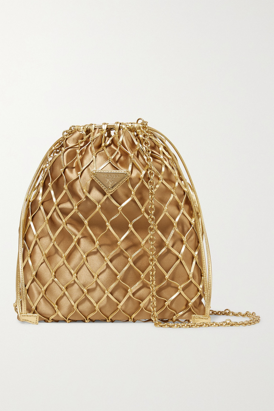 Prada Macramé leather and satin bucket bag
