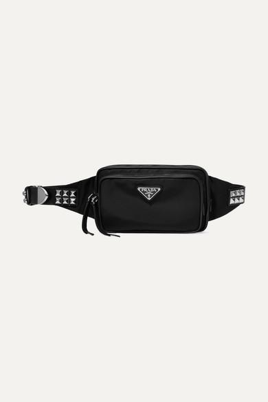 4d2246a67d77b8 Prada | Vela studded leather-trimmed shell belt bag | NET-A-PORTER.COM