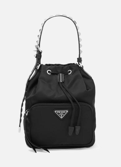 c477e94fc021 Prada | Vela stud-embellished leather-trimmed shell tote | NET-A-PORTER.COM
