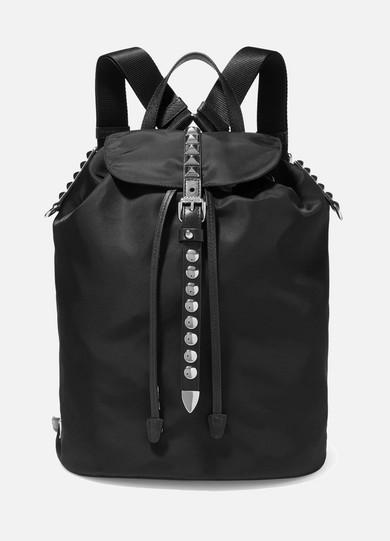 672f27f689b5c1 Prada | Vela studded leather-trimmed shell backpack | NET-A-PORTER.COM