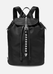 Vela studded leather-trimmed shell backpack