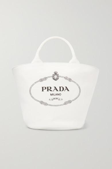 Sac à Main En Toile De Coton Imprimé Avec Finitions En Cuir by Prada