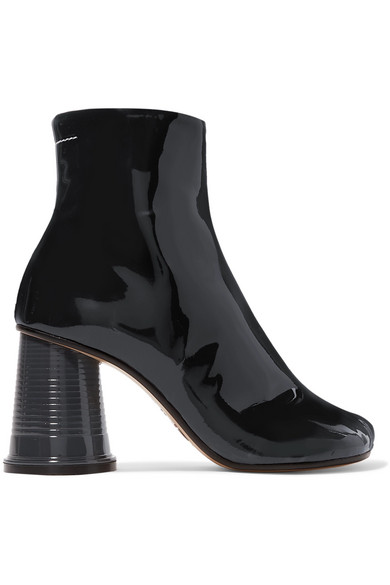 Patent-Leather Ankle Boots in Black