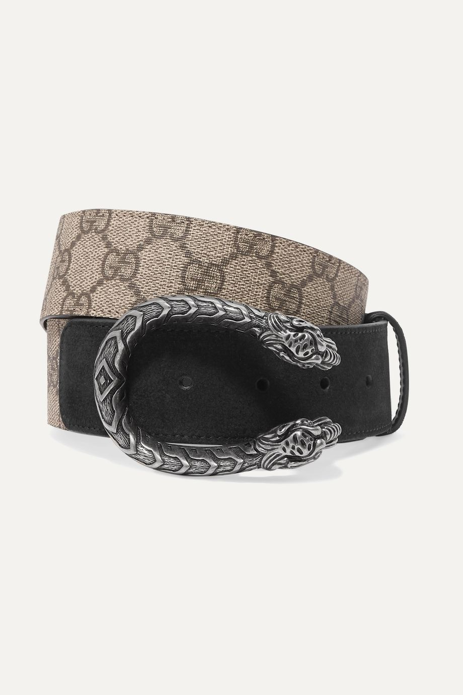 Gucci Dionysus printed coated-canvas and suede belt