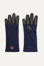 Viola suede and leather gloves
