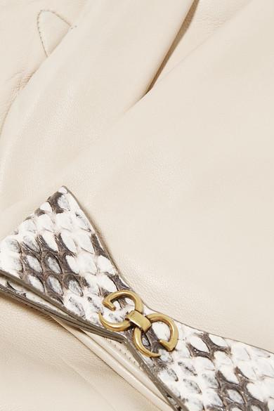 Gucci Gloves Bow-embellished elaphe-trimmed leather gloves