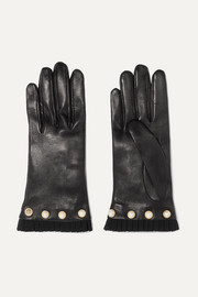 Gucci Faux pearl-embellished grosgrain-trimmed leather gloves