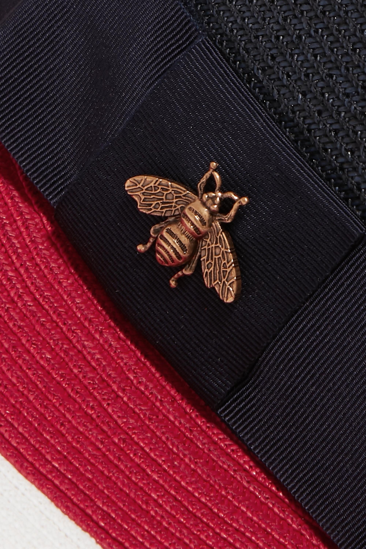 Gucci Embellished grosgrain-trimmed straw hat