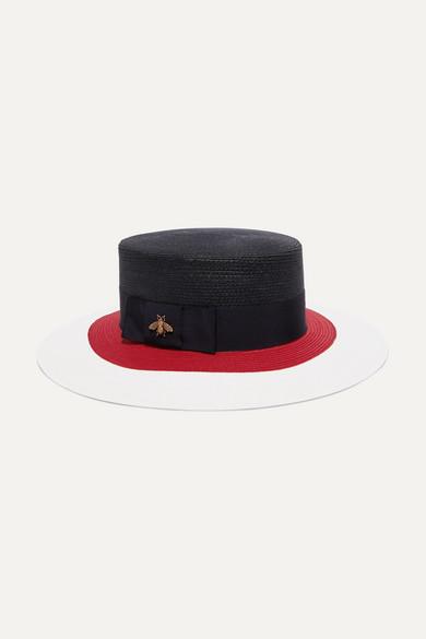 071d8ff5397b Gucci. Embellished grosgrain-trimmed straw hat