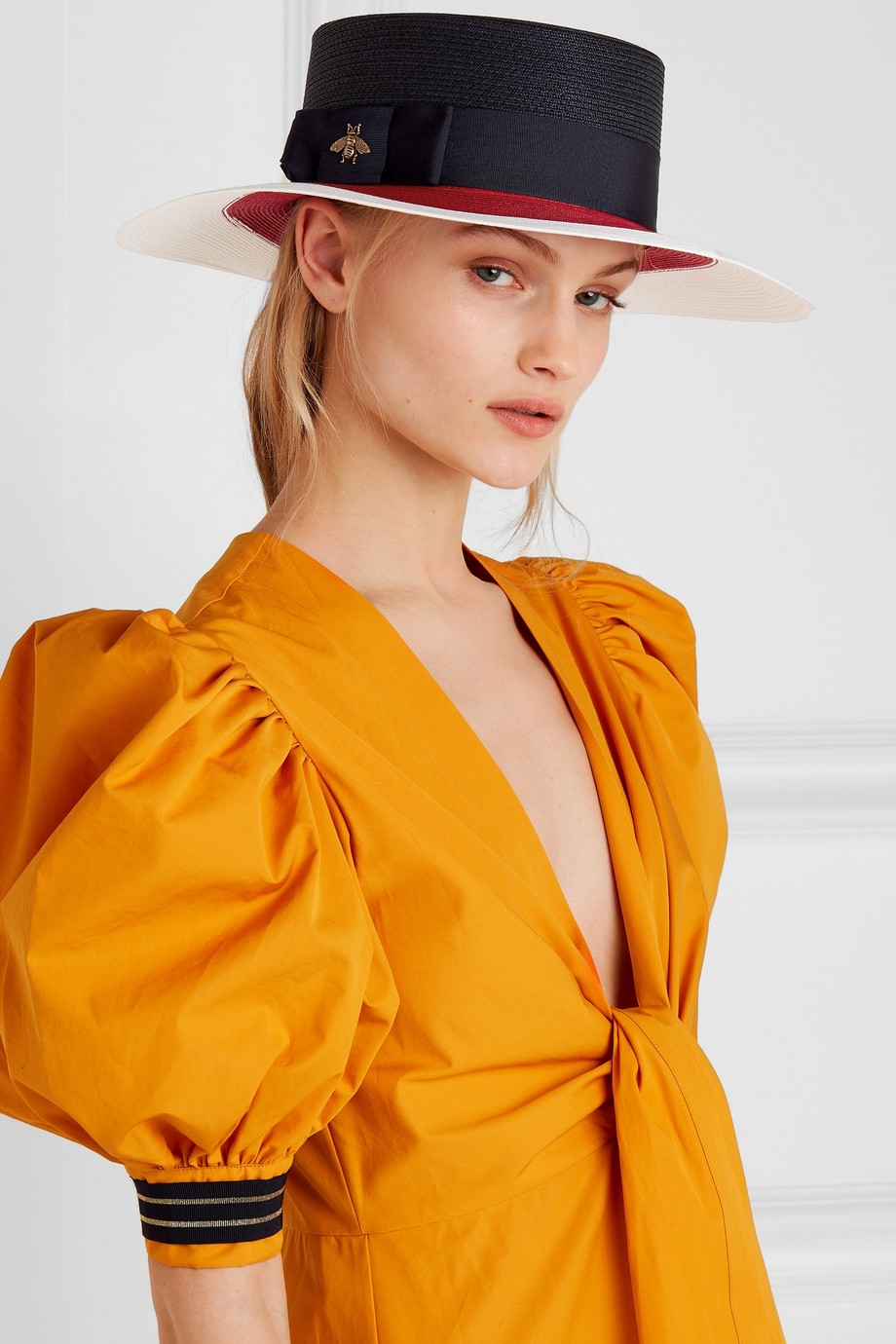 Gucci Embellished grosgrain-trimmed straw hat