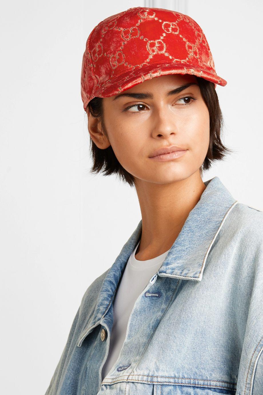 Gucci Metallic velvet-jacquard baseball cap