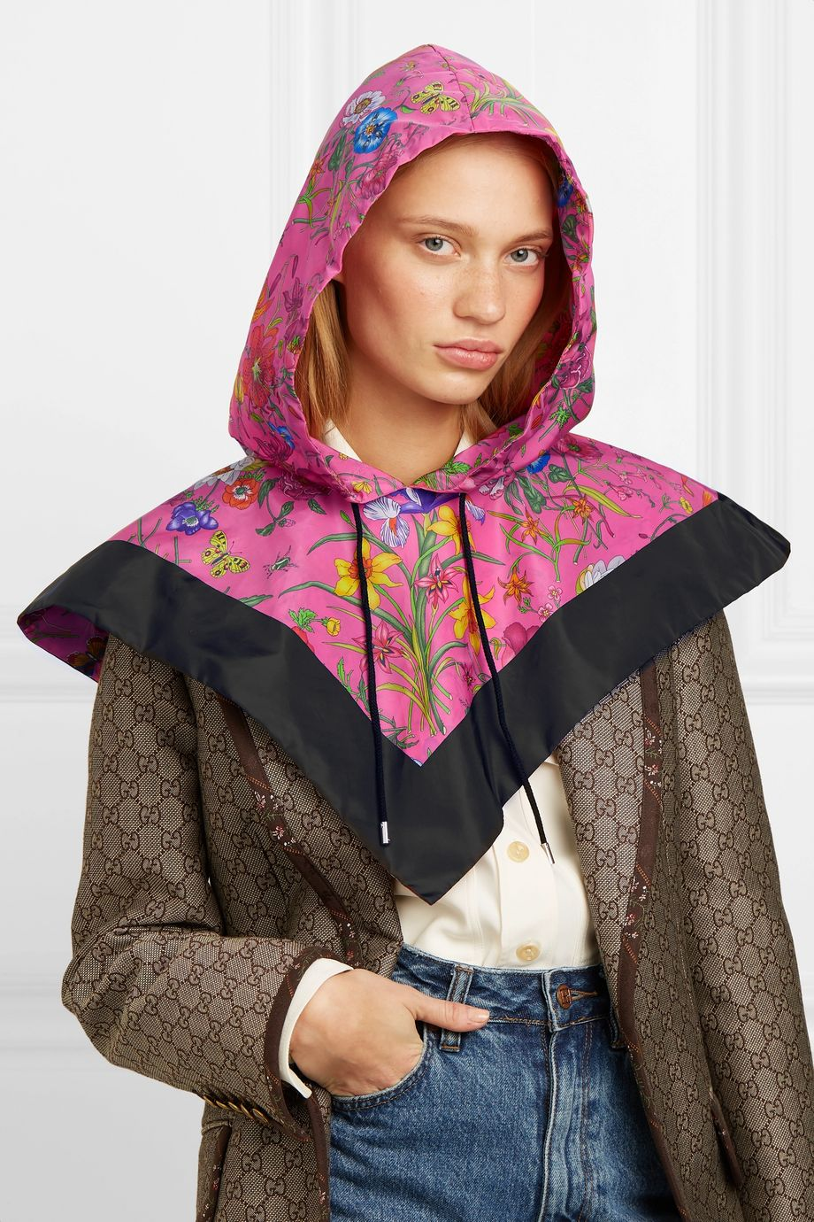 Gucci Floral-print shell hood