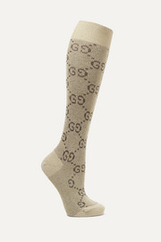 Metallic cotton-blend jacquard socks
