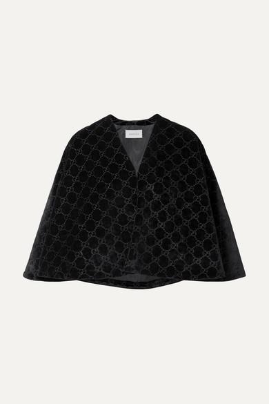 GUCCI | Gucci - Velvet-jacquard Cape - Black | Goxip