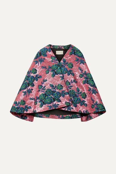 Floral Metallic-Brocade Cape in Pink