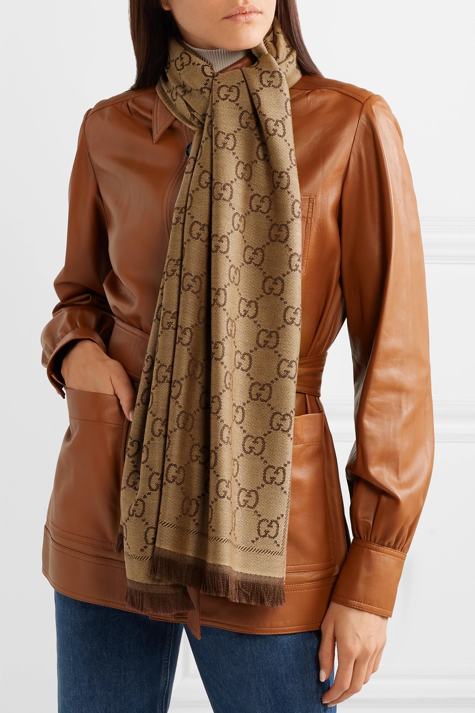 Gucci + NET SUSTAIN Sten reversible intarsia organic wool scarf