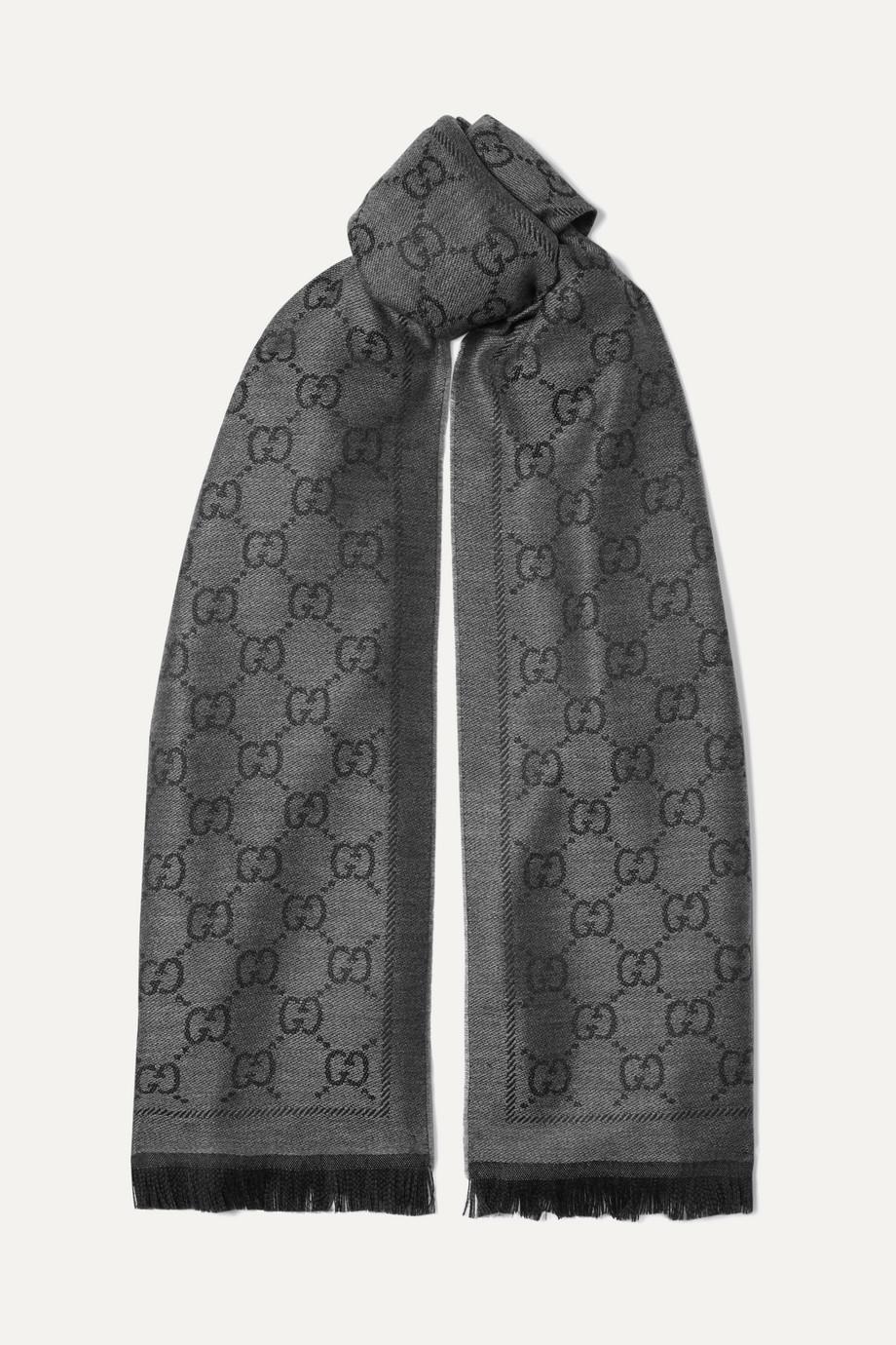 Gucci + NET SUSTAIN fringed organic wool-jacquard scarf
