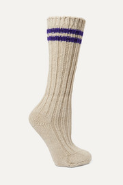 Yosemite striped ribbed cashmere socks