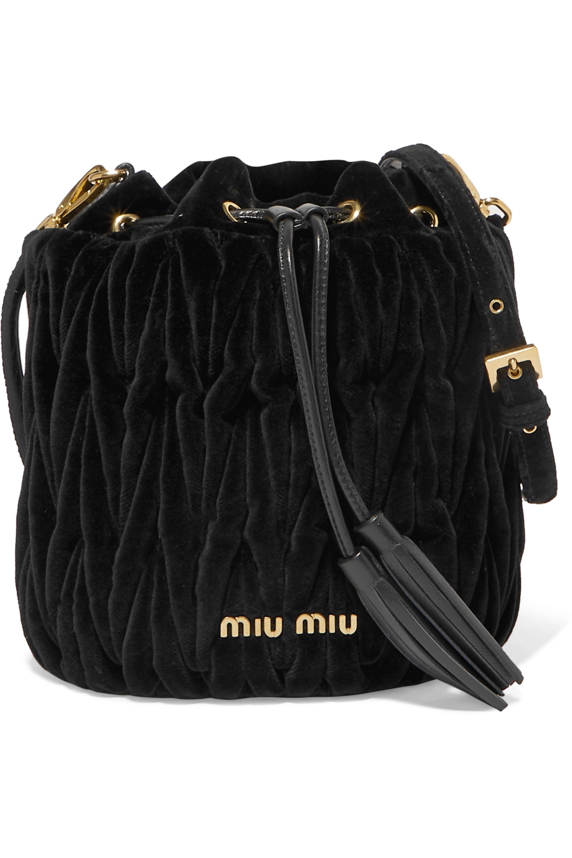 Miu Miu Leather-trimmed matelassé velvet bucket bag