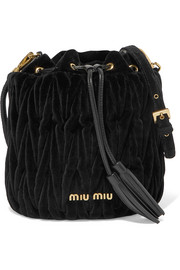 Miu Miu Leather-trimmed matelassé velvet bucket bag