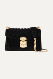 Confidential matelassé velvet shoulder bag