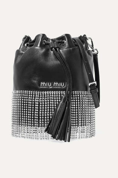 London Night Crystal-Embellished Leather Bucket Bag in Black