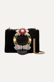 Miu Miu Miu Lady crystal-embellished leather and matelassé velvet shoulder bag