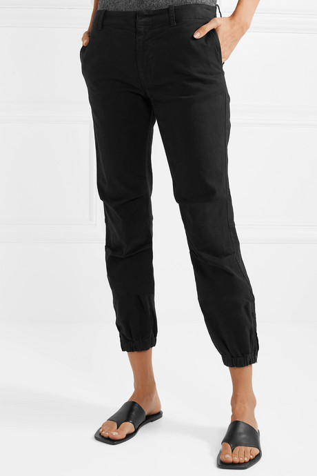 French Military cropped stretch-cotton twill slim-leg pants