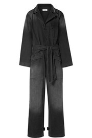 Aria belted cotton-chambray jumpsuit