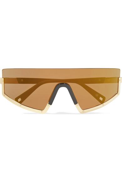 Westward Leaning - Stun D-frame Gold-tone And Matte-acetate Sunglasses - Bronze