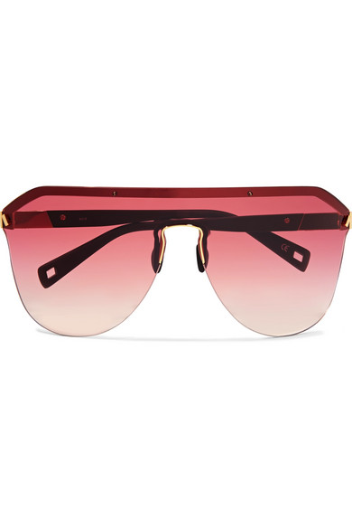 Westward Leaning - Vibe D-frame Matte-acetate And Gold-tone Sunglasses - Red