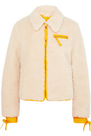Shell-trimmed faux shearling jacket