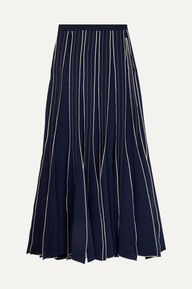 Tory Burch Skirts Pleated embroidered silk-crepe maxi skirt