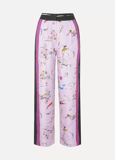 Painted Border Printed Silk-Twill Pants in Lilac